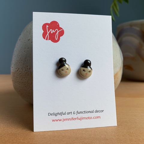 Small Bun Hand-painted Ceramic Earrings