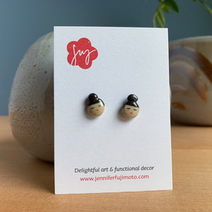 Tiny Bun Hand-painted Ceramic Earrings