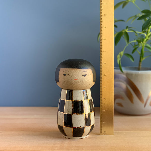 """Fast Times"" Checkerboard Bling Kokeshi-Inspired Ceramic Doll"