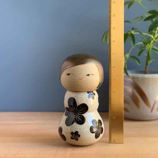 Secretive Black Plum Blossom Kokeshi-Inspired Ceramic Doll