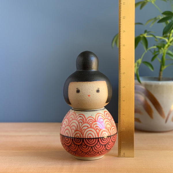 Infinite Ripples Kokeshi-Inspired Ceramic Doll