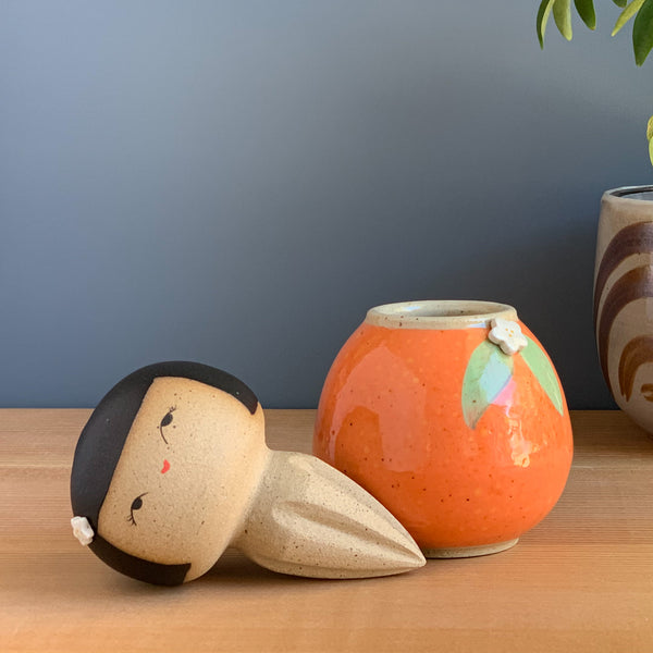 Orange-You-Sweet Kokeshi-Inspired Ceramic Doll & Reamer