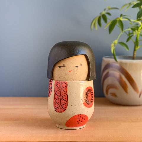 Whimsical Landscape Tea Doll in Red