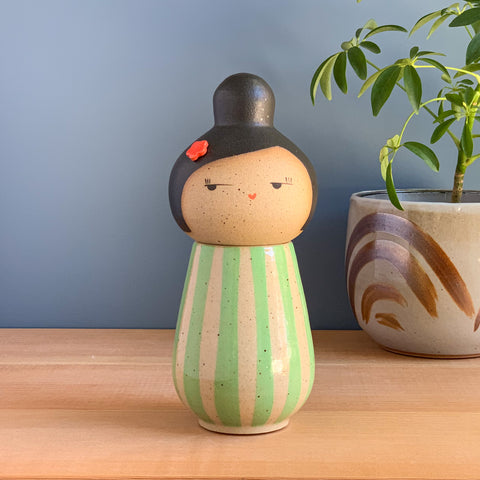 Freshly Minted Kokeshi-Inspired Ceramic Doll