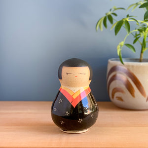 Gourd-Shaped Kokeshi-Inspired Ceramic Rattle