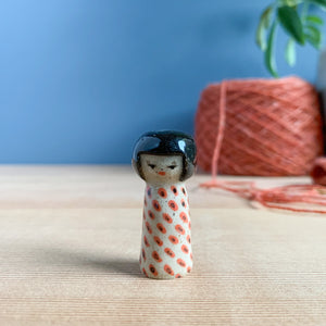 Bias Dots Kokeshi-Inspired Stoneware Miniature