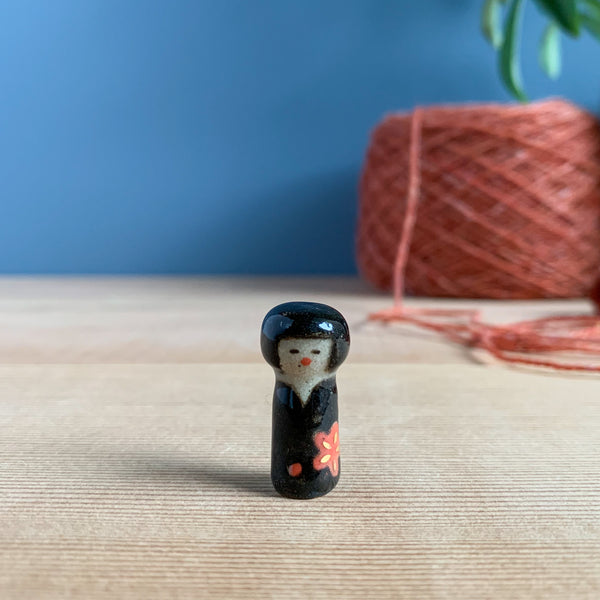 Red Blossom Kokeshi-Inspired Stoneware Miniature
