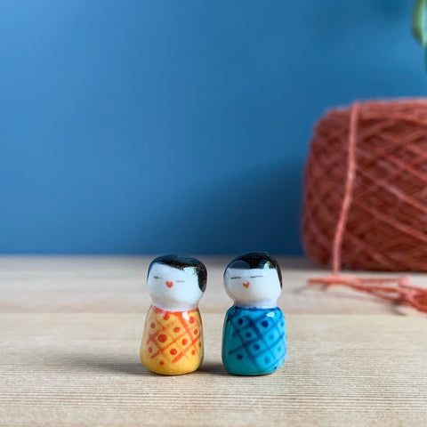 Teeny Pair of Kokeshi-Inspired Porcelain Miniatures