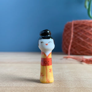 Yellow Floral Kokeshi-Inspired Porcelain Miniature