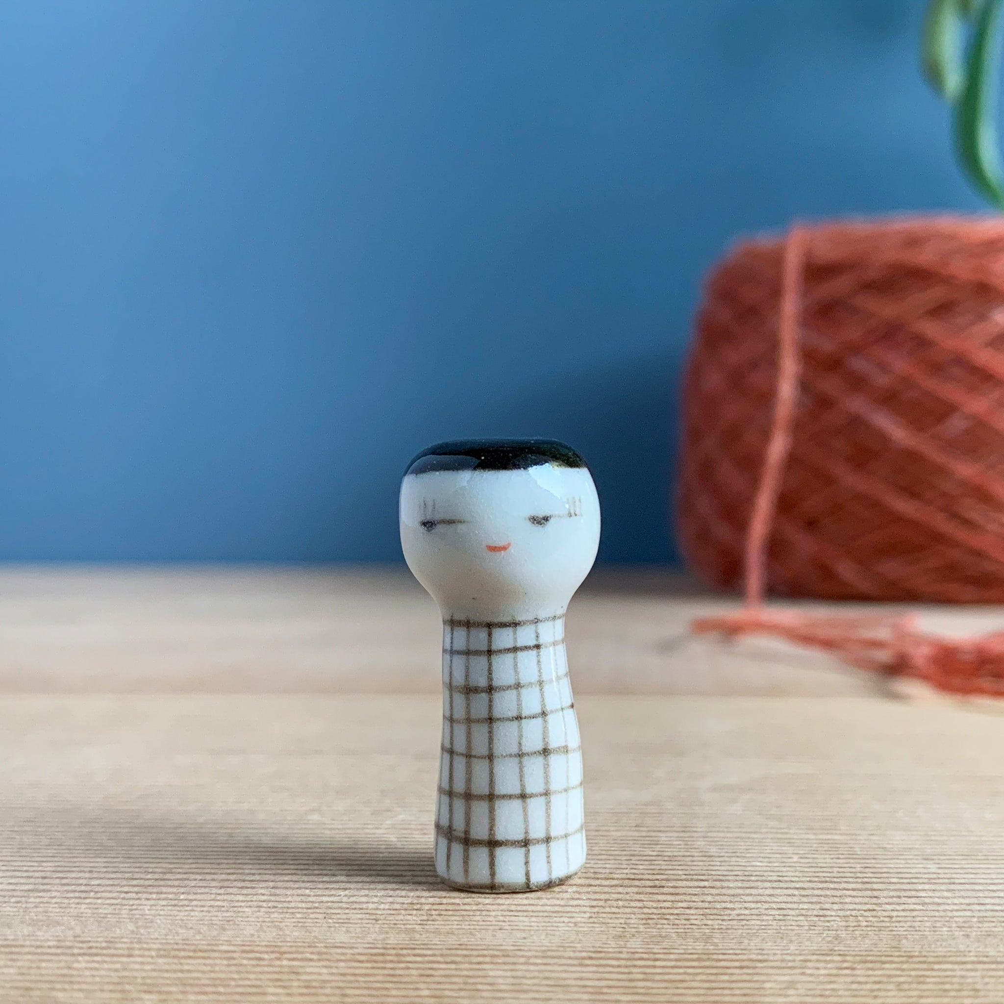 Black & White Grid Kokeshi-Inspired Porcelain Miniature