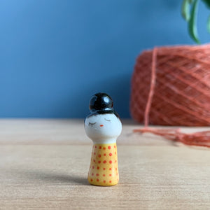 Top-Knot Kokeshi-Inspired Porcelain Miniature
