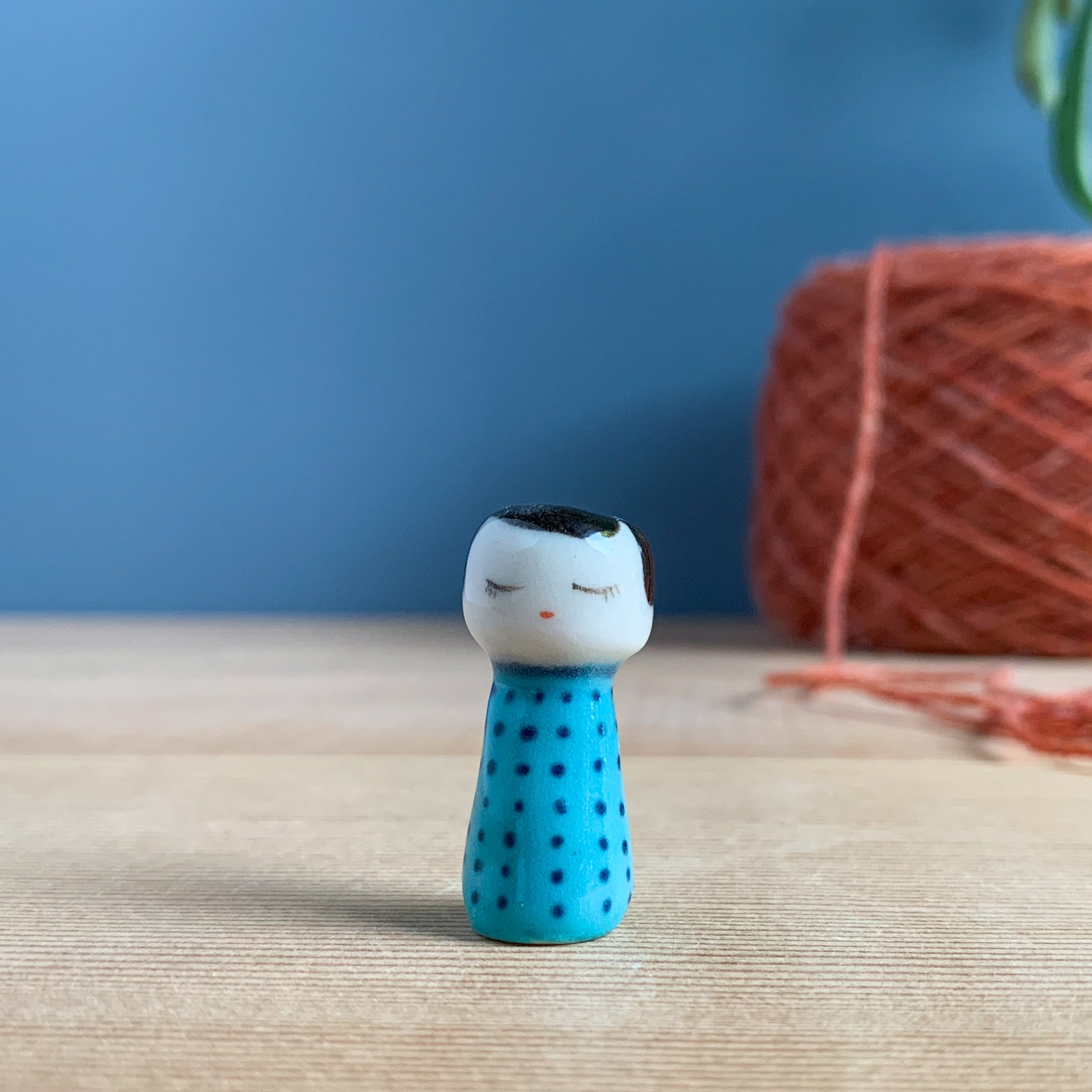 Blue Dot Kokeshi-Inspired Porcelain Miniature