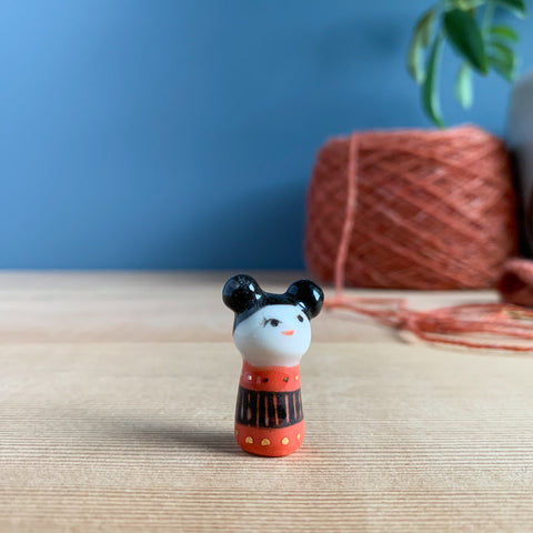 Double-Bun Kokeshi-Inspired Porcelain Miniature