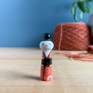 Elegant Red & Gold Kokeshi-Inspired Porcelain Miniature