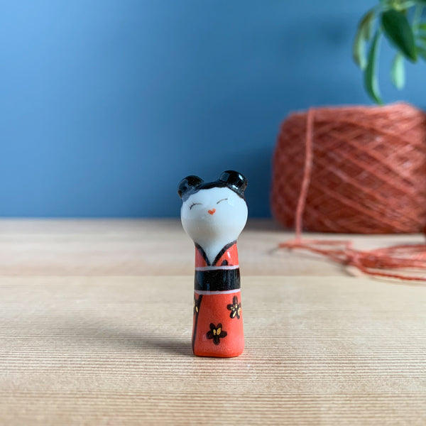 Double Bun Red & Gold Kokeshi-Inspired Porcelain Miniature