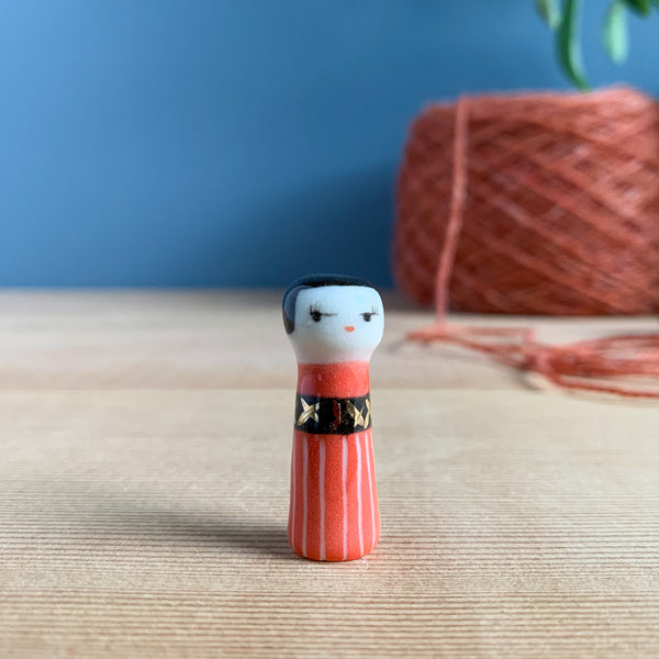 Red Striped Kokeshi-Inspired Porcelain Miniature