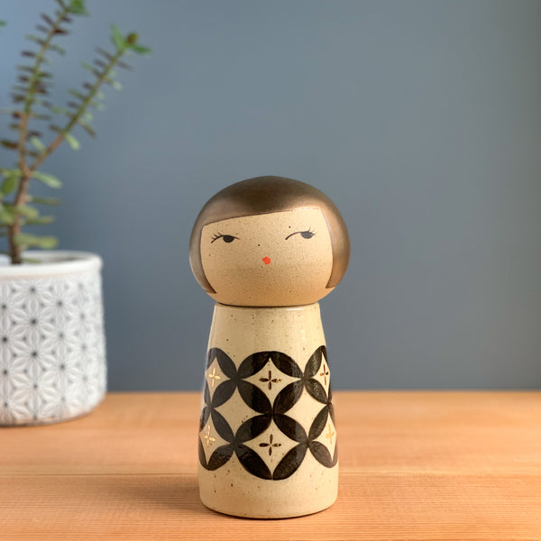 Seven Treasures Kokeshi-Inspired Ceramic Doll