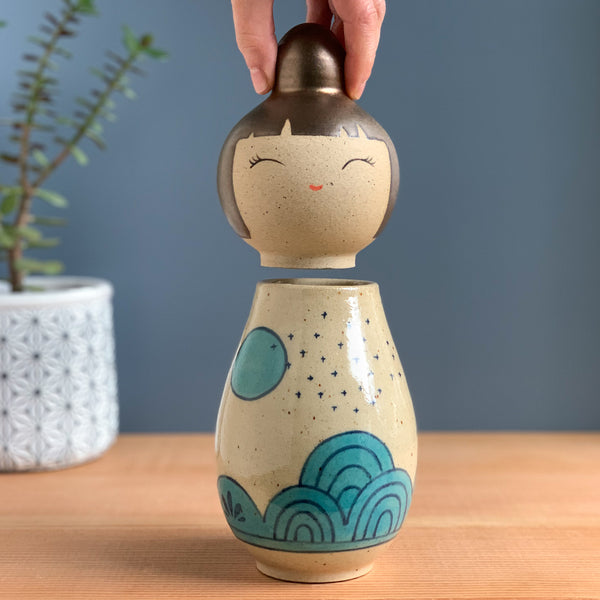Desert Hills at Dusk Kokeshi-Inspired Ceramic Doll