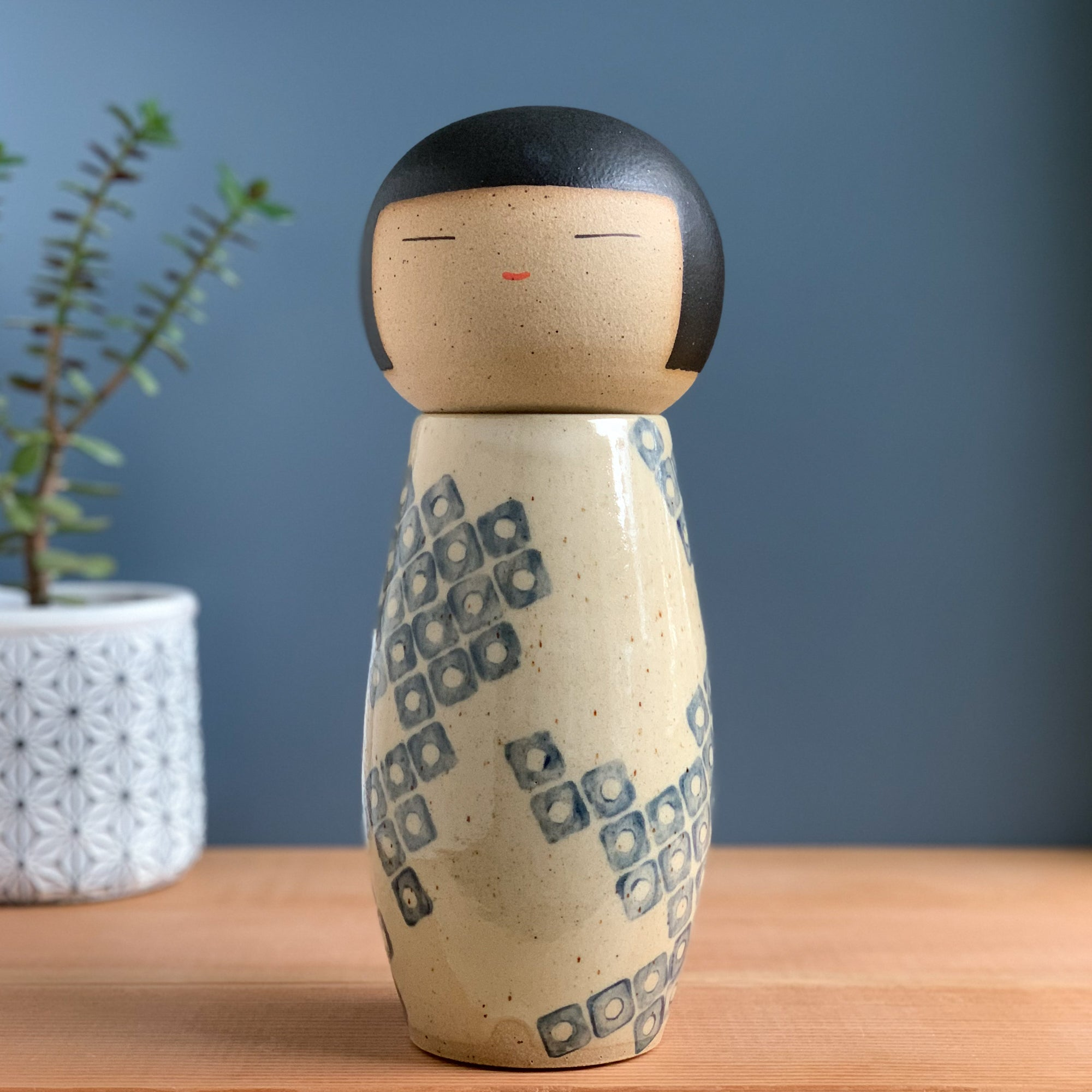 Large Blue Kanoko Kokeshi-Inspired Ceramic Doll