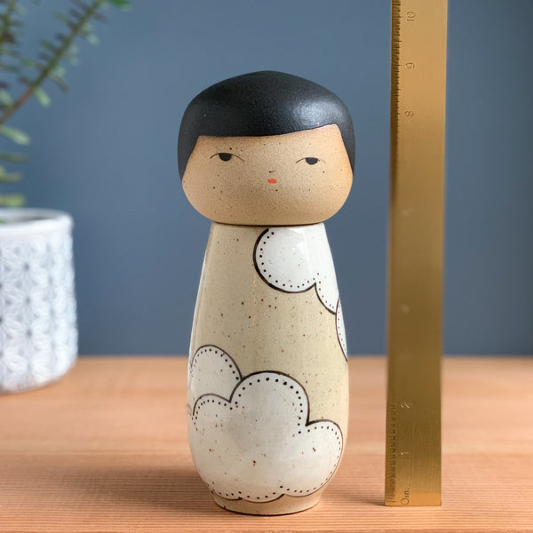 Head in the Clouds Kokeshi-Inspired Ceramic Doll