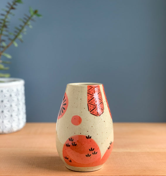 Knowing Red Landscape Kokeshi-Inspired Ceramic Doll