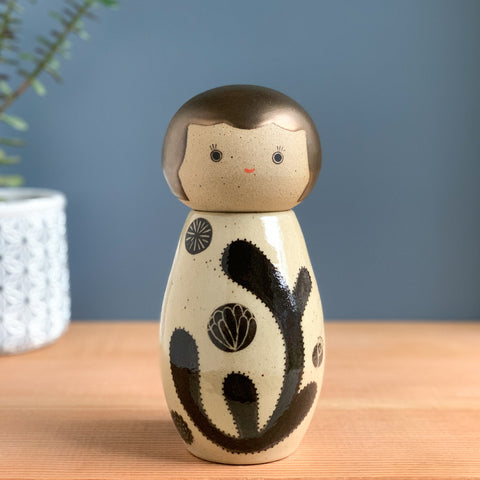 Bold Botanical Kokeshi-Inspired Ceramic Doll
