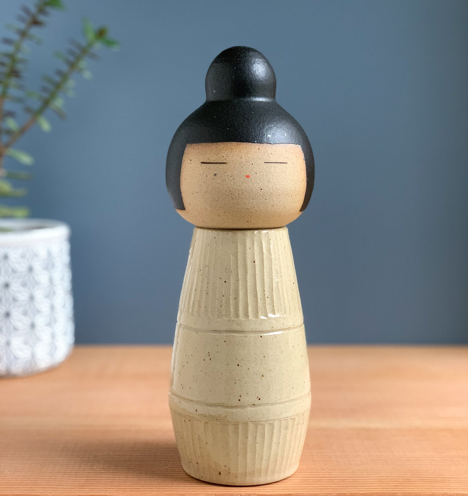 Beachy Mod Kokeshi-Inspired Ceramic Doll