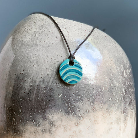 Hand-painted Ceramic Pendant - Blue Waves
