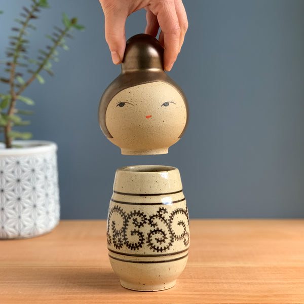 Karakusa Pattern Kokeshi-Inspired Ceramic Doll