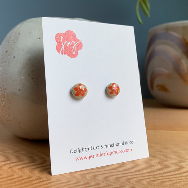 Plum Blossom Hand-painted Ceramic Earrings