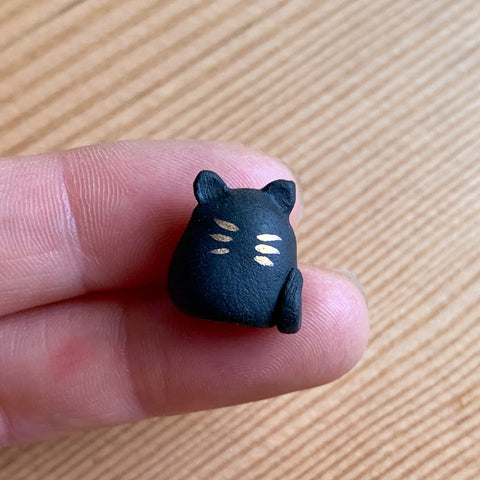 Black Stoneware Kitty Cat Miniature