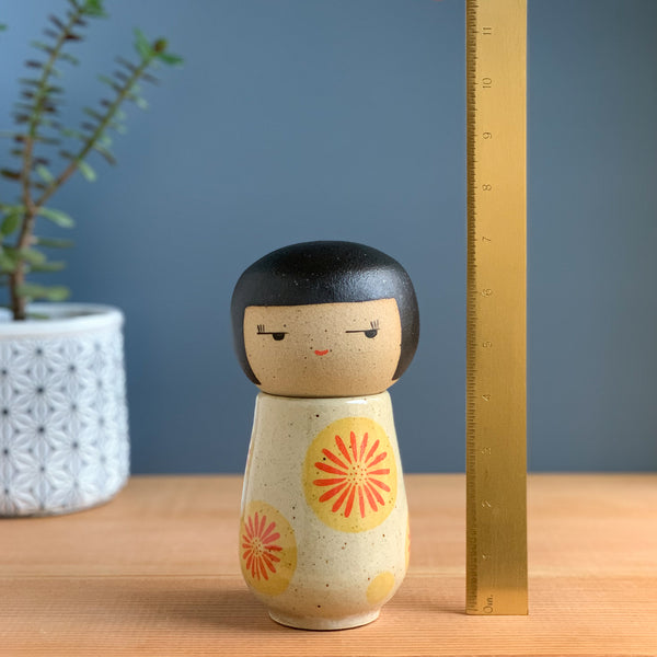 Sunrise Daisy Kokeshi-Inspired Ceramic Doll