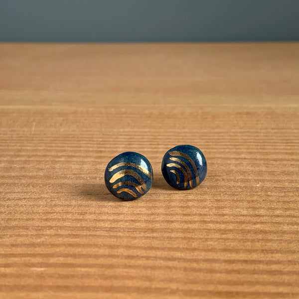 Gold Wave Hand-painted Ceramic Earrings
