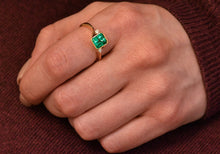 Load image into Gallery viewer, Bezel Set Emerald and Diamonds Ring
