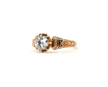 Load image into Gallery viewer, Antique Diamond and Enamel Engagement Ring