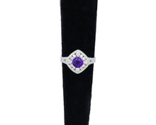 Load image into Gallery viewer, Amethyst and Diamond Halo Ring
