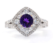 Load image into Gallery viewer, Amethyst and Diamond Cocktail Ring