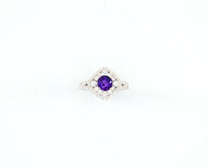 Amethyst and Diamond Halo Cocktail Ring