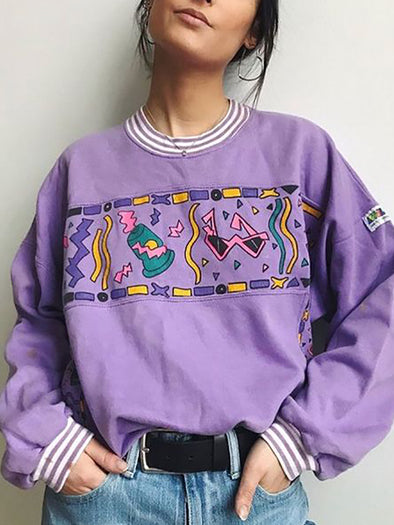 Daily Cute Printed Purple Sweatshirts