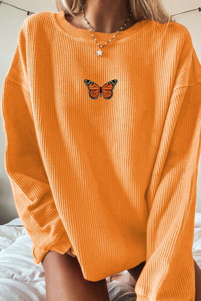 Women's Sweatshirts Vintage Butterfly Long-sleeve Sweatshirt