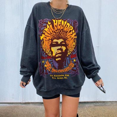 Women's Vintage Basic Long Sleeve Printed Loose Sweatshirt