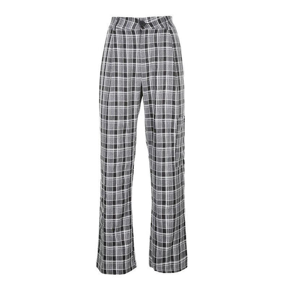 High waist plaid casual pants