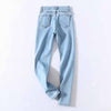 Slim four buttons high waist denim pants