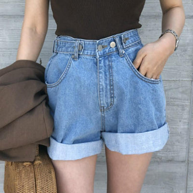 All-match flanging casual denim shorts pants