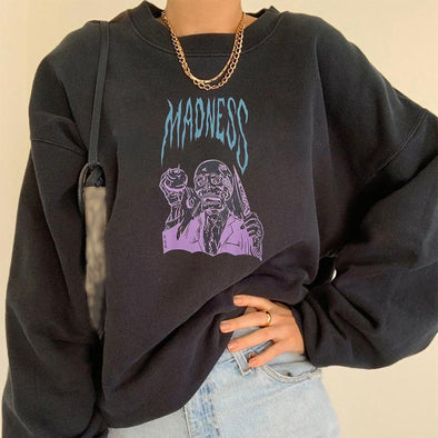 Madness letter character print hoodie designer