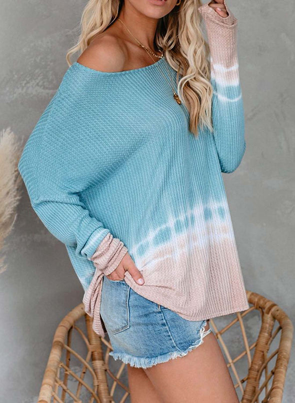 Color Block One Shoulder Top