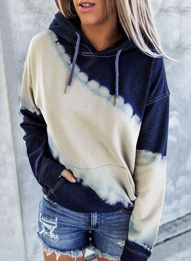 Front Pocketed Tie-dye Hoodie