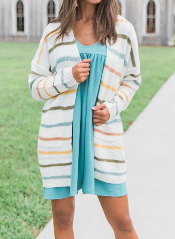 Daily Striped Open Front Cardigan
