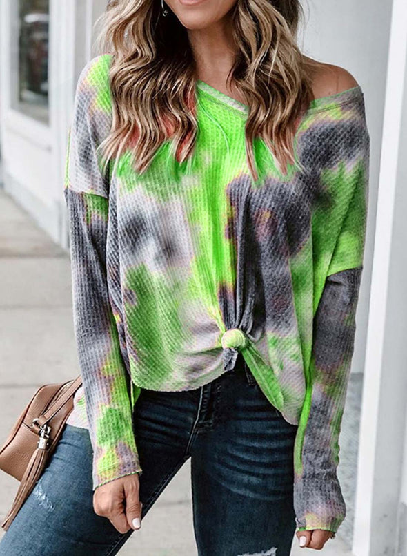 Abstract Long Sleeve Round Neck Sweatshirt