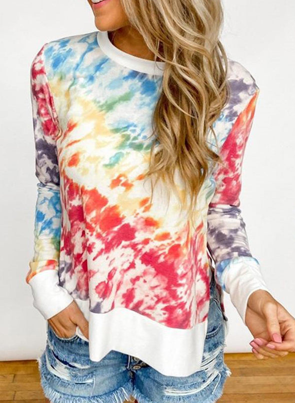 Tie-Dye Long Sleeve Casual Side Split Sweatshirt